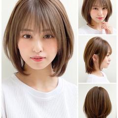 ボブ ナチュラル 縮毛矯正 髪質改善トリートメント ヘアスタイルや髪型の写真・画像