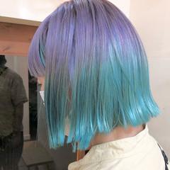 ボブ ストリート インナーグリーン ユニコーンカラー ヘアスタイルや髪型の写真・画像