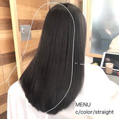 縮毛矯正 前髪 ロング ナチュラル ヘアスタイルや髪型の写真・画像