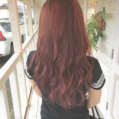 ピンクベージュ ハイライト ピンクカラー ロング ヘアスタイルや髪型の写真・画像