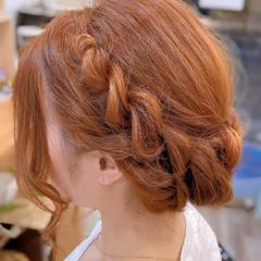 ねじり 簡単ヘアアレンジ ヘアアレンジ ロープ編み ヘアスタイルや髪型の写真・画像