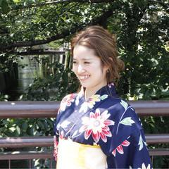 花火大会 ミディアム ヘアアレンジ 夏 ヘアスタイルや髪型の写真・画像