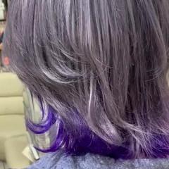 インナーカラー ボブ グレージュ アッシュ ヘアスタイルや髪型の写真・画像