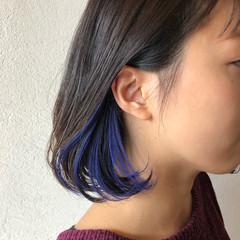 ネイビーブルー インナーカラー ボブ ネイビーカラー ヘアスタイルや髪型の写真・画像