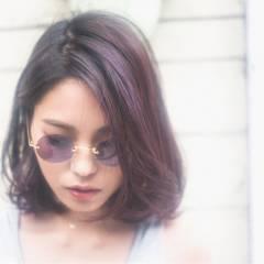 パンク ロブ パープル ストリート ヘアスタイルや髪型の写真・画像