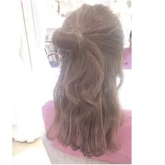 女子会 ヘアアレンジ お団子 ミディアム ヘアスタイルや髪型の写真・画像