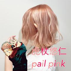 ピンク ベリーピンク ガーリー ボブ ヘアスタイルや髪型の写真・画像