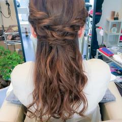 簡単ヘアアレンジ ショート ハーフアップ フェミニン ヘアスタイルや髪型の写真・画像