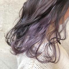 セミロング ラベンダーピンク ラベンダーカラー ピンクラベンダー ヘアスタイルや髪型の写真・画像