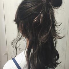 ラベンダーピンク ウェーブ セミロング ミディアム ヘアスタイルや髪型の写真・画像