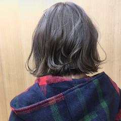 ガーリー ダブルカラー モーブ ボブ ヘアスタイルや髪型の写真・画像