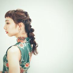 前髪パッツン デート ロング 女子会 ヘアスタイルや髪型の写真・画像