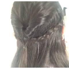 ヘアアレンジ 時短 三つ編み 学校 ヘアスタイルや髪型の写真・画像
