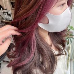 インナーカラー エレガント ロング イヤリングカラー ヘアスタイルや髪型の写真・画像