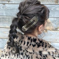 セミロング ナチュラル 簡単ヘアアレンジ パーマ ヘアスタイルや髪型の写真・画像