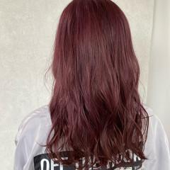 ロング ガーリー ラベンダーピンク ヘアスタイルや髪型の写真・画像
