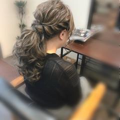 ポニーテールアレンジ 結婚式 ヘアセット ローポニーテール ヘアスタイルや髪型の写真・画像
