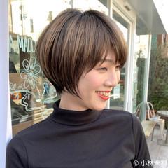 3Dハイライト ショコラブラウン ハイライト ショート ヘアスタイルや髪型の写真・画像