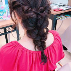 ミディアム ヘアアレンジ ガーリー 夏 ヘアスタイルや髪型の写真・画像