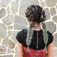 個性的 パステルカラー ヘアアレンジ ストリート ヘアスタイルや髪型の写真・画像