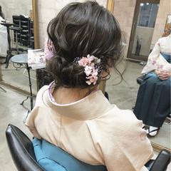 セミロング ナチュラル ギブソンタック ヘアアレンジ ヘアスタイルや髪型の写真・画像