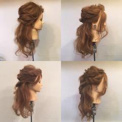 ハーフアップ ヘアアレンジ 結婚式 セミロング ヘアスタイルや髪型の写真・画像