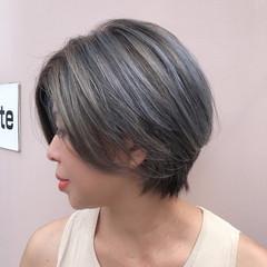 グラデーションボブ ショートボブ ショート エレガント ヘアスタイルや髪型の写真・画像