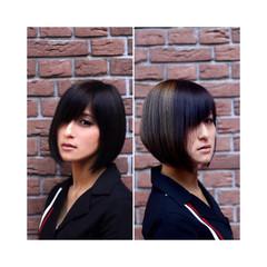 黒髪 モード かっこいい ボブ ヘアスタイルや髪型の写真・画像