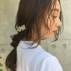 前髪あり 後れ毛 簡単ヘアアレンジ セミロング ヘアスタイルや髪型の写真・画像