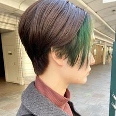 モード グリーン ショートボブ ショート ヘアスタイルや髪型の写真・画像