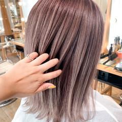パープルアッシュ ラベンダーピンク 透明感 透明感カラー ヘアスタイルや髪型の写真・画像