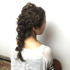 ショート 簡単ヘアアレンジ 編み込み 大人かわいい ヘアスタイルや髪型の写真・画像