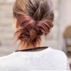 くるりんぱ 簡単ヘアアレンジ ヘアアレンジ ミディアム ヘアスタイルや髪型の写真・画像