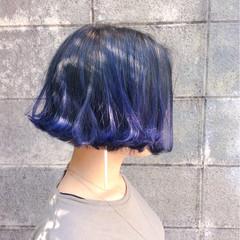 ブルー グラデーションカラー ダブルカラー ボブ ヘアスタイルや髪型の写真・画像