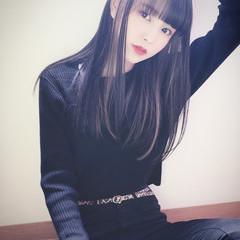 インナーカラー 暗髪バイオレット インナーカラーグレー ロング ヘアスタイルや髪型の写真・画像