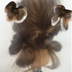 ヘアアレンジ ロング くるりんぱ 波ウェーブ ヘアスタイルや髪型の写真・画像
