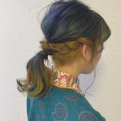 カラーバター ブルー セミロング ストリート ヘアスタイルや髪型の写真・画像