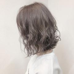 ラベンダー ボブ バレイヤージュ ハイライト ヘアスタイルや髪型の写真・画像