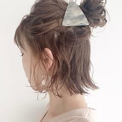 おだんご ボブ セルフヘアアレンジ ナチュラル ヘアスタイルや髪型の写真・画像