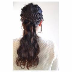 三つ編み 結婚式 黒髪 二次会 ヘアスタイルや髪型の写真・画像