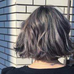 アッシュ モード グラデーションカラー 外ハネ ヘアスタイルや髪型の写真・画像