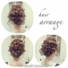 二次会 結婚式 ミディアム 簡単ヘアアレンジ ヘアスタイルや髪型の写真・画像