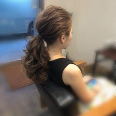 ポニーテールアレンジ ヘアセット フェミニン 結婚式 ヘアスタイルや髪型の写真・画像