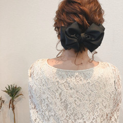 ヘアセット ボブアレンジ ねじり フェミニン ヘアスタイルや髪型の写真・画像