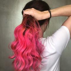 ラベンダーピンク ピンクアッシュ ピンク ベリーピンク ヘアスタイルや髪型の写真・画像