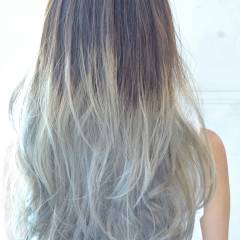 アッシュ グラデーションカラー 黒髪 ストリート ヘアスタイルや髪型の写真・画像