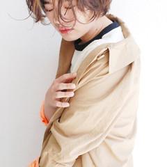 パーマ ナチュラル ショートボブ ニュアンスパーマ ヘアスタイルや髪型の写真・画像