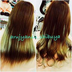 グラデーションカラー 渋谷系 アッシュ エクステ ヘアスタイルや髪型の写真・画像