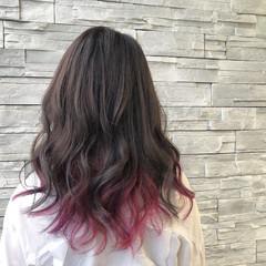 グレージュ ピンク 女子力 レッド ヘアスタイルや髪型の写真・画像