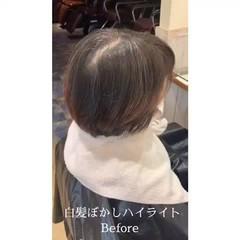 大人ハイライト ハイライト 白髪染め インナーカラー ヘアスタイルや髪型の写真・画像